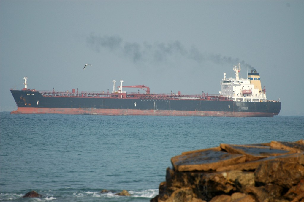 An end to oil imports? Crude tanker off Haifa. Photo: Shay Levy / Flash90
