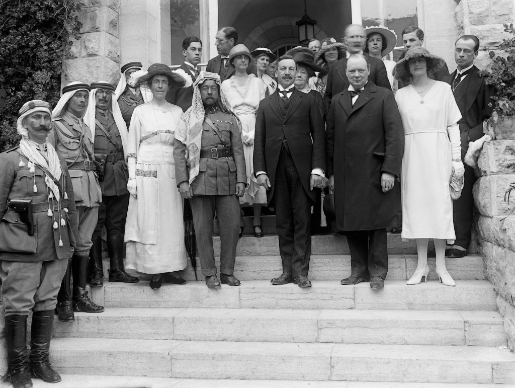 Winston Churchill, Hebert Samuel, and Abdullah I of Jordan meet in Jerusalem in 1921. Photo: Wikimedia