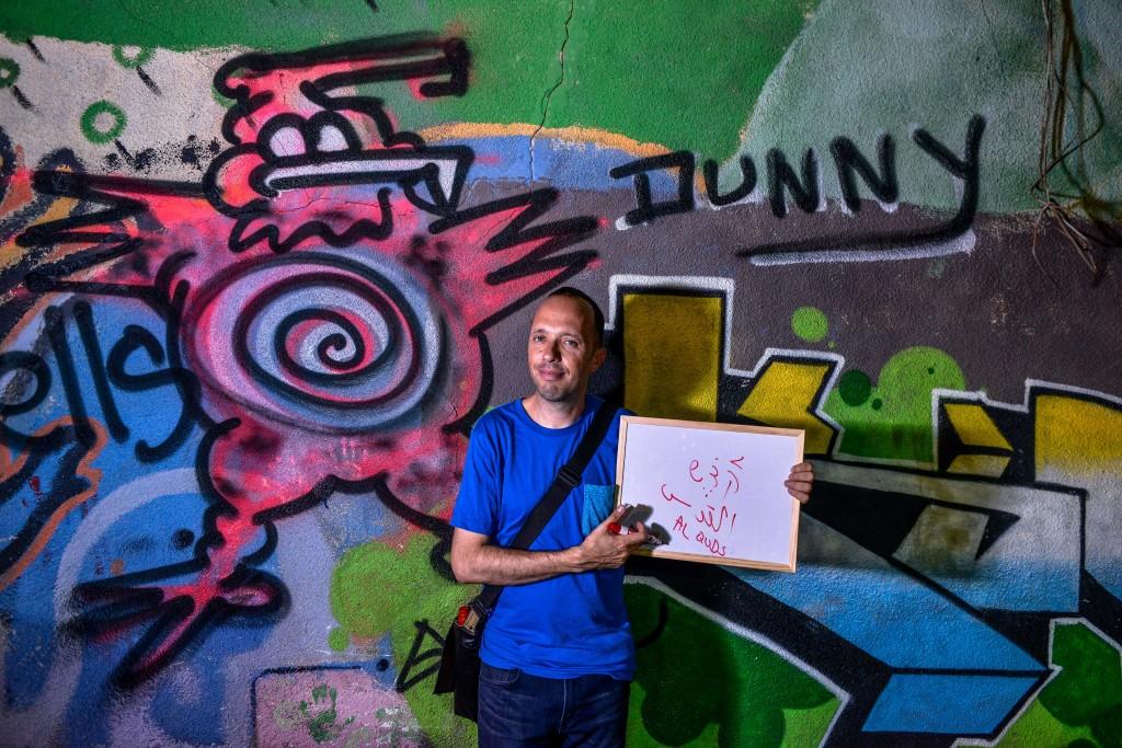 Guy Sharett, tour guide through Florentin and Jaffa. Photo: Aviram Valdman / The Tower