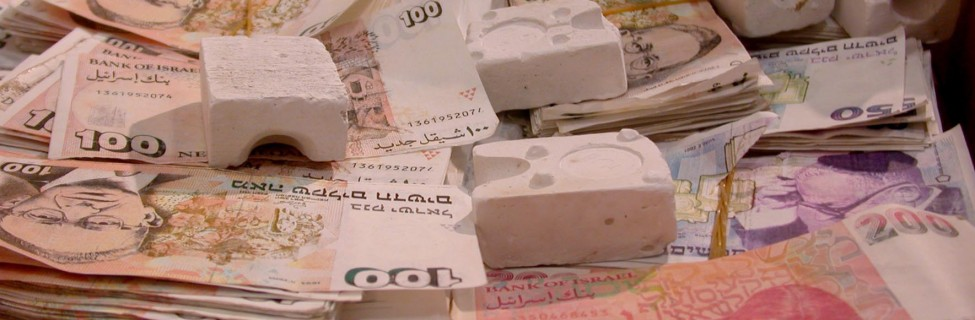 Counterfeit money found in the Muqata, 2002. Photo: Israel Defense Forces / flickr