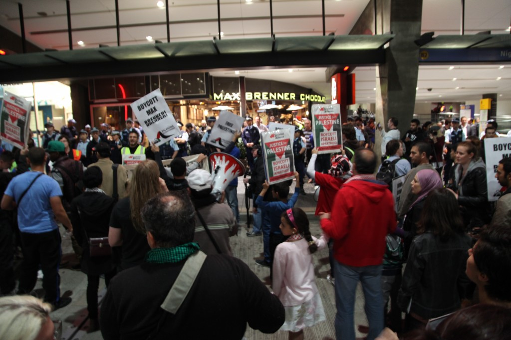 BDS advocates protest the opening of a Max Brenner chocolate store in Parramatta, Australia. Photo: Kate Ausburn / flickr