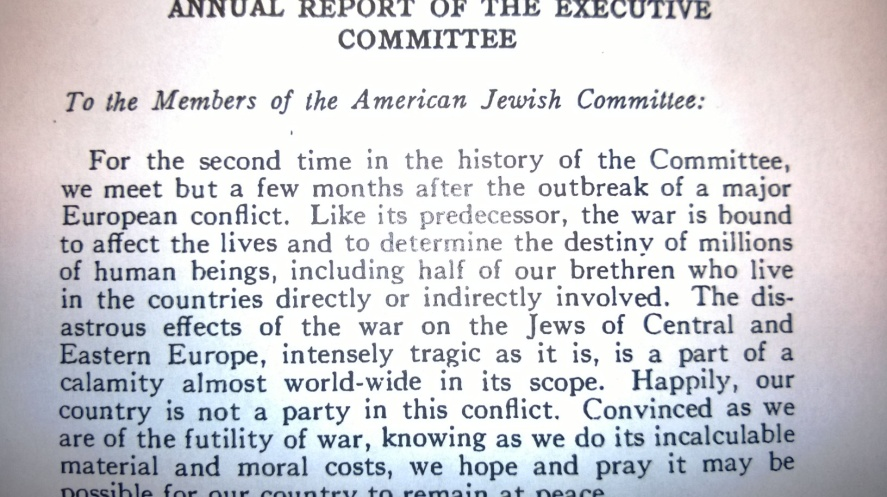 The annual report of the American Jewish Committee, released January 1940. Photo: Rick Richman