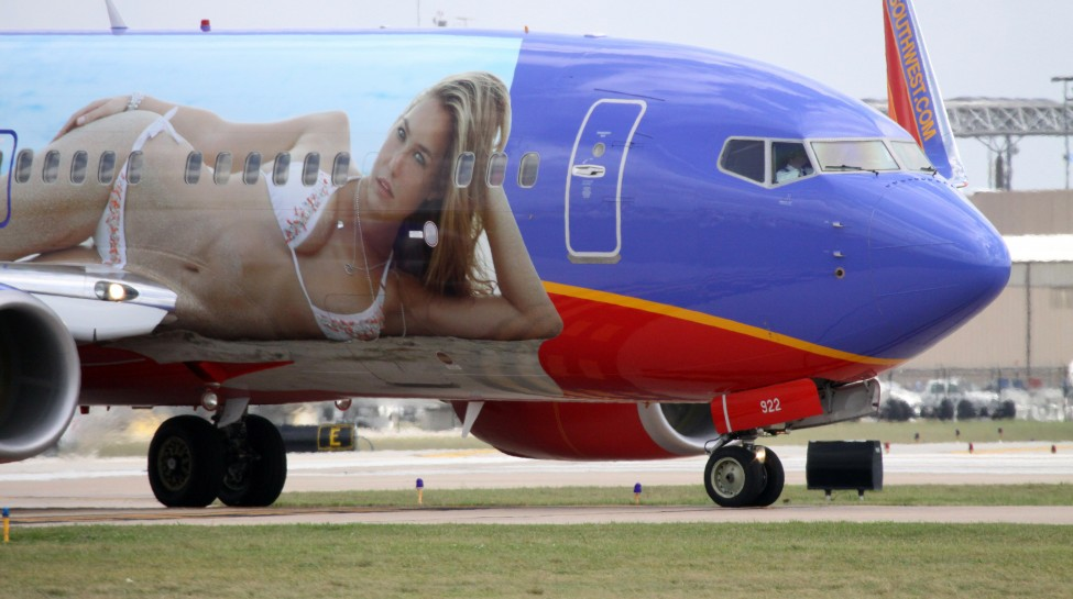 Israeli supermodel Bar Refaeli was painted onto a Southwest Airlines plane to promote the 2009 Sports Illustrated Swimsuit Issue. Photo: Christopher Ebdon / flickr