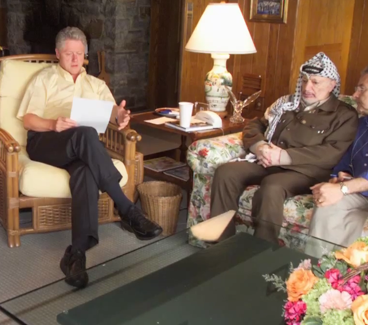 Clinton and Arafat meet at Camp David. Photo: Council on Foreign Relations / YouTube