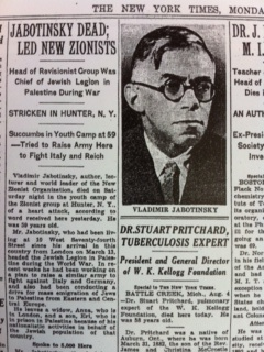 The New York Times' obituary for Vladimir Jabotinsky. Photo: Rick Richman