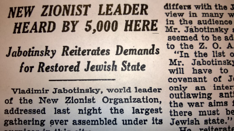 The New York Times reported on Jabotinsky's speech. Photo: Rick Richman