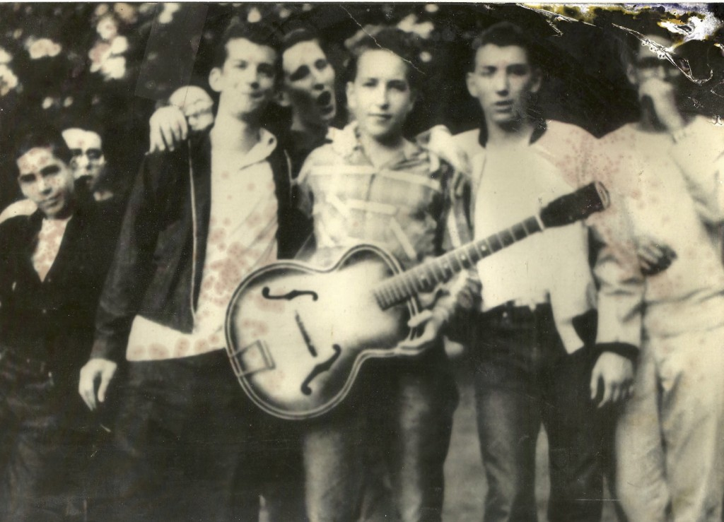 Herzl Camp, 1957. From left to right: Larry Keegan, Jerry Waldman, Robert Zimmerman (AKA Bob Dylan), Louis Kemp, David Unowsky.