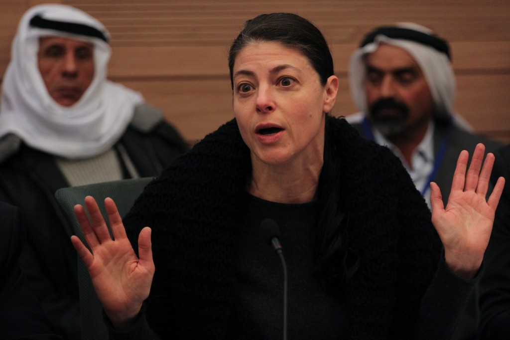 Labor MK Merav Michaeli, speaks at the Internal Affairs and Environment committee meeting in the Knesset, during a discussion regarding a bill regulating Bedouin settlements in the Negev. Photo: Hadas Parush / Flash 90