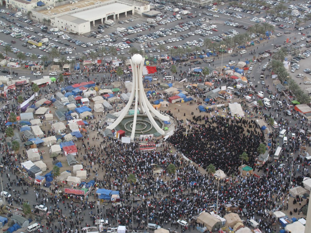 Thousands of protesters gathering in the Pearl Roundabout in Manama, Bahrain, March 14,  2011, the day GCC troops entered the country and two days before the crackdown. Photo: Bahraini Activist / Wikimedia