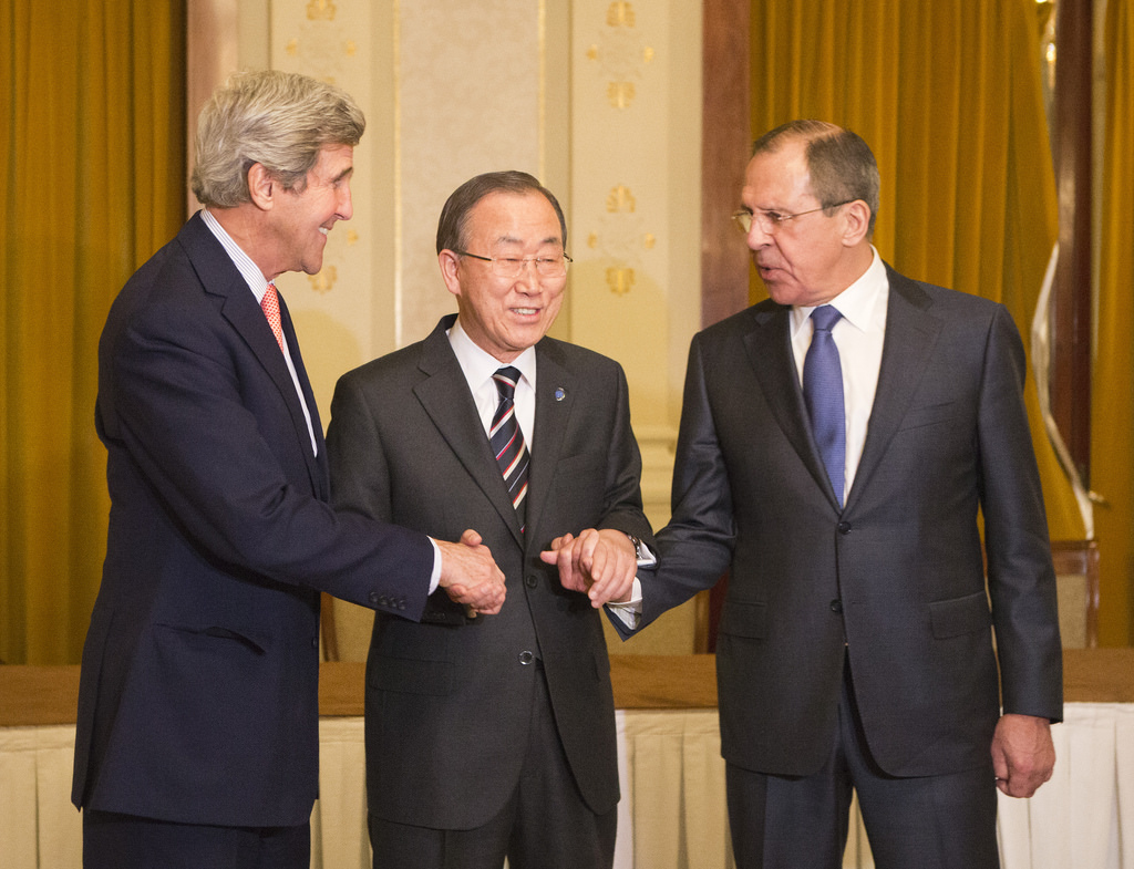 U.S. Secretary of State John Kerry, UN Secretary General Ban Ki-moon, and Russian Foreign Minister Sergei Lavrov congratulate themselves on a job well done at the Geneva II conference, on Syria, January 21, 2014. Photo: Eric Bridiers / flickr