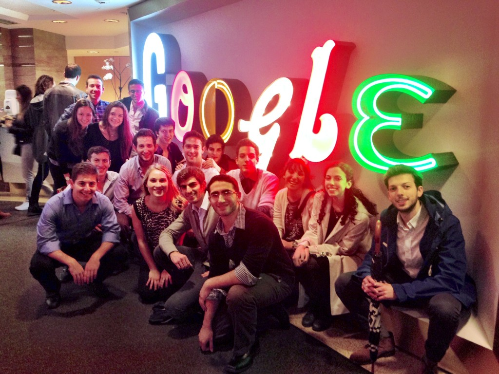 The TAMID group at New York University, visiting Google's New York offices. Photo courtesy of TAMID at NYU.