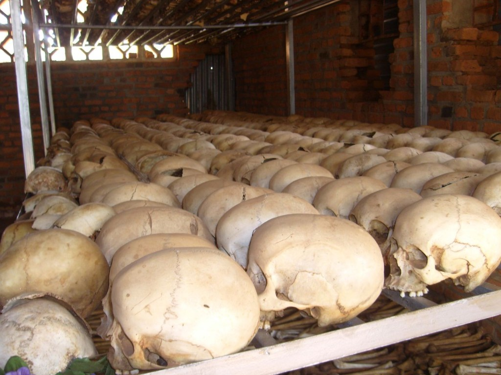 Skulls at the memorial for the Ntarama Church massacre, outside Kigali, Rwanda. Photo: Robin Kirk / flickr