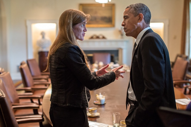 President Barack Obama talks with UN Ambassador Samantha Power following a Cabinet meeting, September 12, 2013. Photo: Pete Souza / flickr