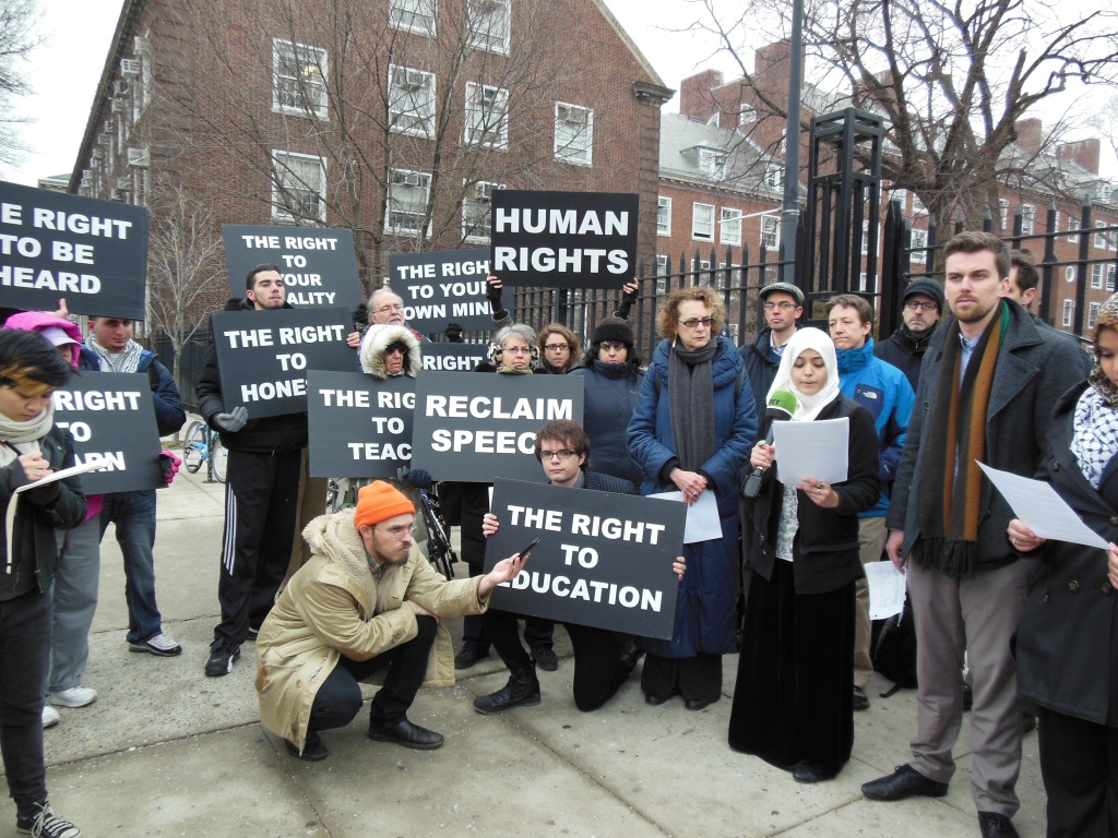 A pro-BDS press conference rally before the Barghouti/Butler lecture. Kristofer Petersen-Overton is on right, wearing a brown scarf. Photo: ellefsona / flickr