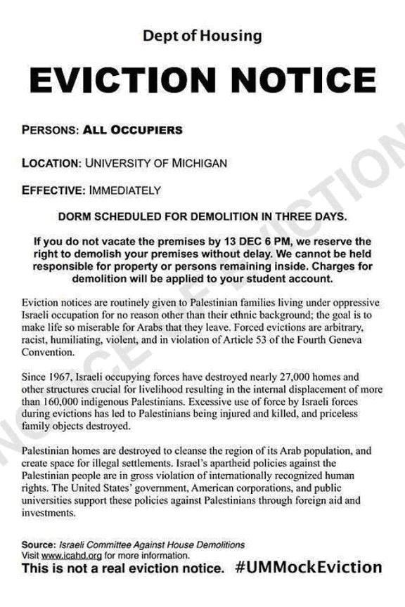 This eviction notice was placed on more than 1,000 students' doors in dorms across campus.