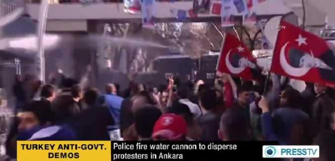 turkey protesters water cannon