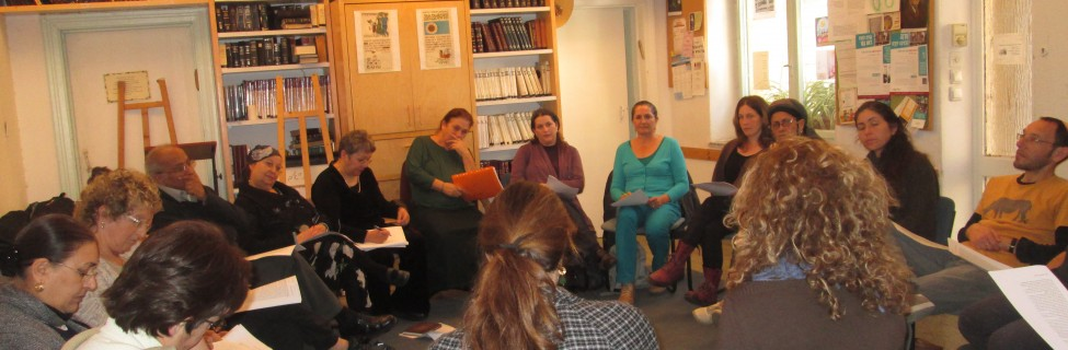 Participants in a text study at Beit Midrash Elul in Jerusalem. Photo: Beth Kissileff / The Tower