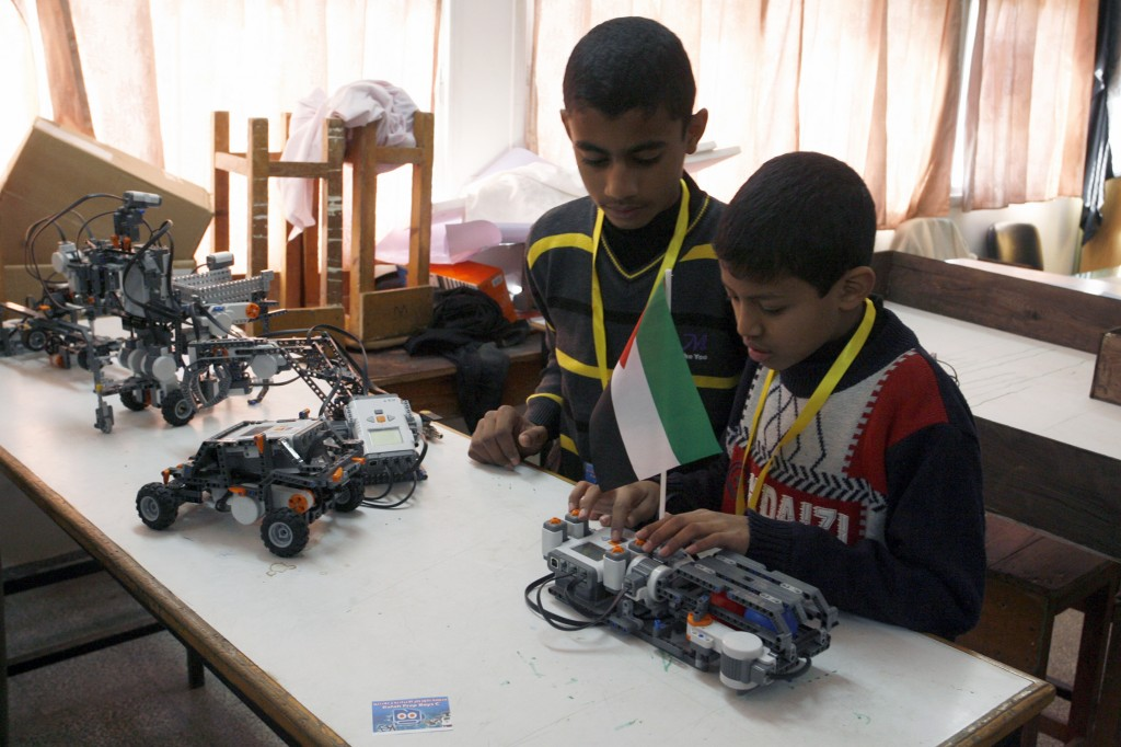Palestinian students take part in a robotics workshop organized by UNRWA at a school in Rafah, in the southern Gaza Strip. Photo: Abed Rahim Khatib / Flash90