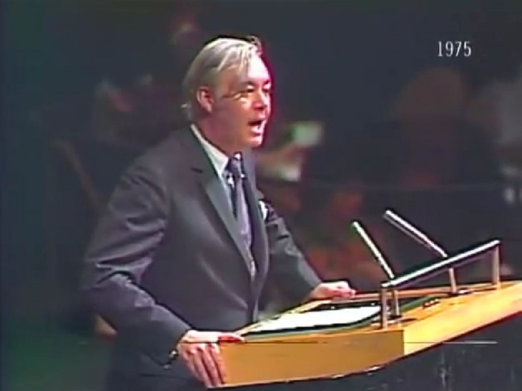 Daniel Patrick Moynihan, United States Ambassador to the United Nations, spoke in opposition to UN Resolution 3379 in 1975. Photo: Legal Insurrection / YouTube