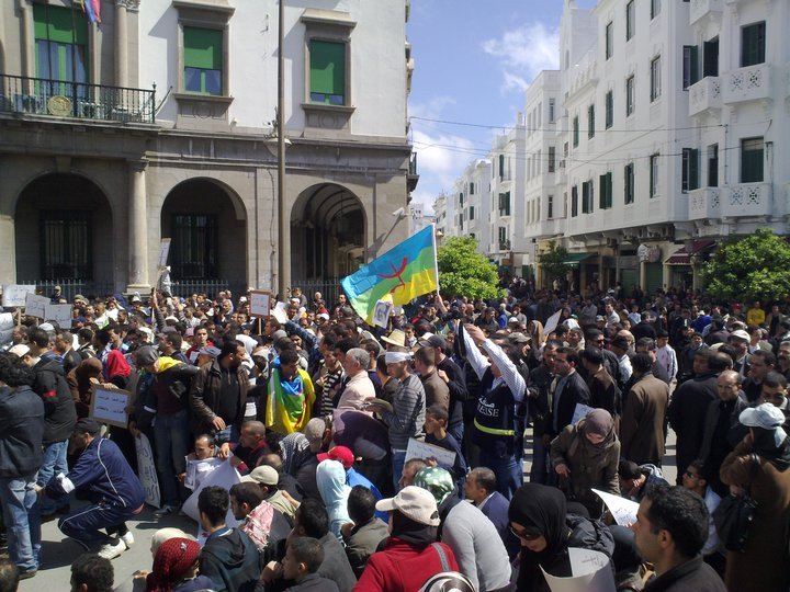 "Berbers – also known as Amazigh – take part in a rally in Morocco to try to bring about an ""Amazigh Spring,"" April 20, 2011. Photo: Magharebia / flickr"