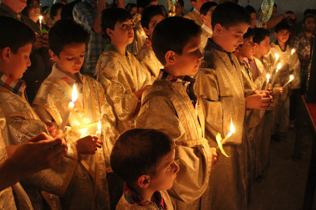 Greek Orthodox Christians marked the arrival of the Easter holiday with a midnight worship service at the Church of Saint Porphyrius in Gaza City. Photo: Joe Catron / flickr