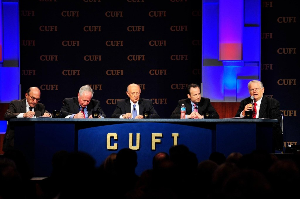 Elliot Abrams, William Kristol, James Woolsey, David Brog, and Pastor John Hagee participate in a panel discussion at the 2014 CUFI Washington Summit. Photo: CUFI / Facebook