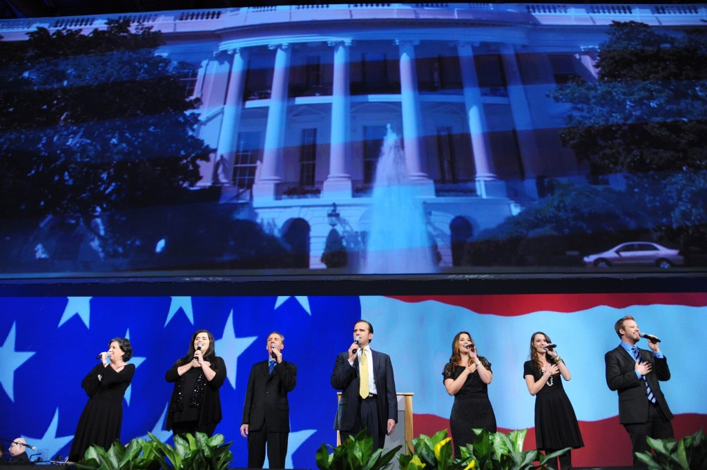 The CUFI Singers leading the national anthems of the United States of America and Israel at Night to Honor Israel event at the 2014 CUFI Washington Summit. Photo: CUFI / Facebook
