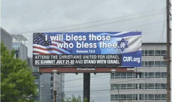 A billboard advertises the 2014 CUFI Washington Summit. Photo: CUFI / Facebook