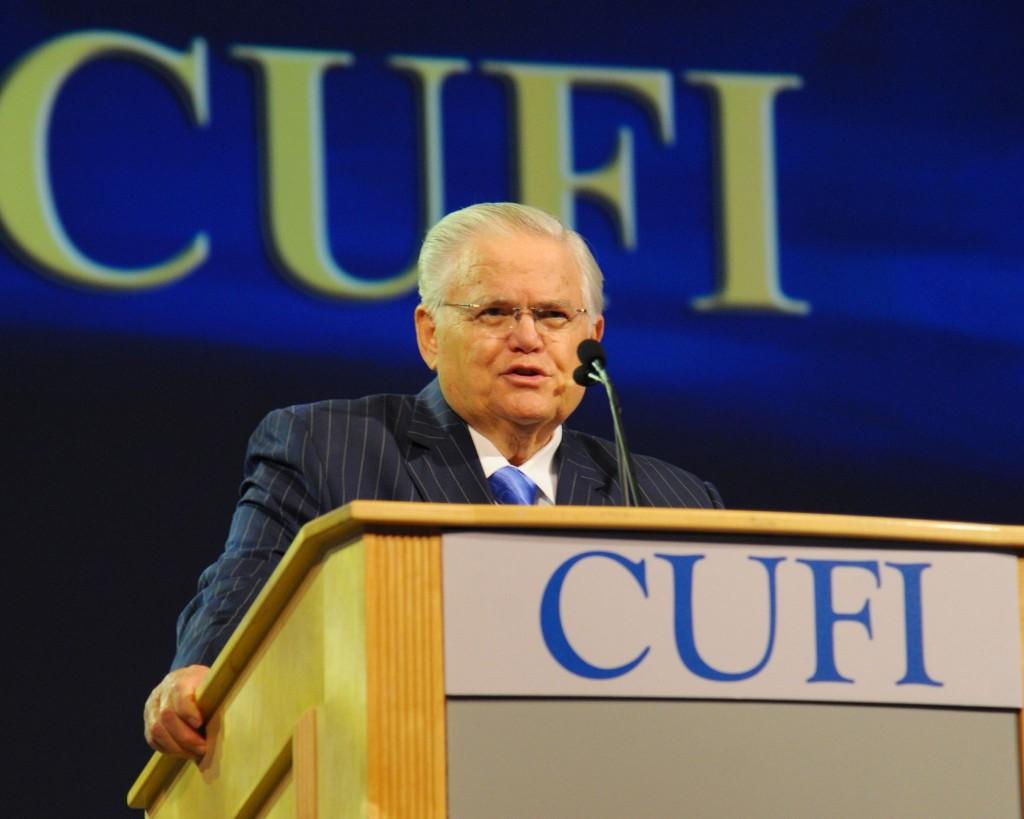 Pastor John Hagee speaks at the 2014 CUFI Washington Summit. Photo: CUFI / Facebook