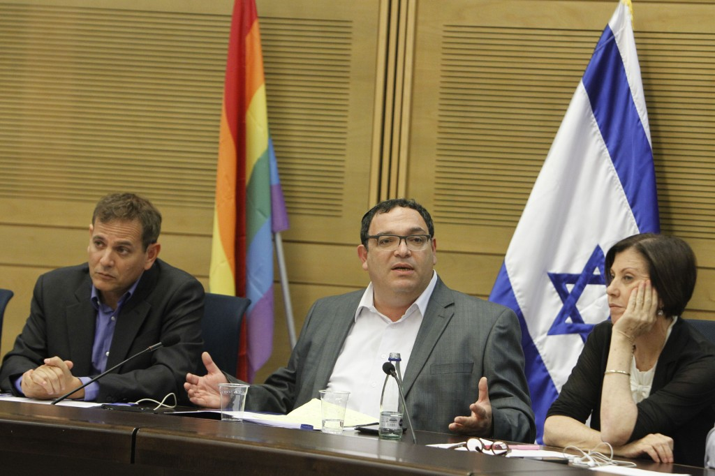 From left to right: Members of Knesset Nitzan Horovitz (Meretz) Israeli Minister of Education Shay Piron (Yesh Atid) and Zahava Gal-On (Meretz) in a special on LGBT issues in June 2013. Photo: Miriam Alster / Flash90