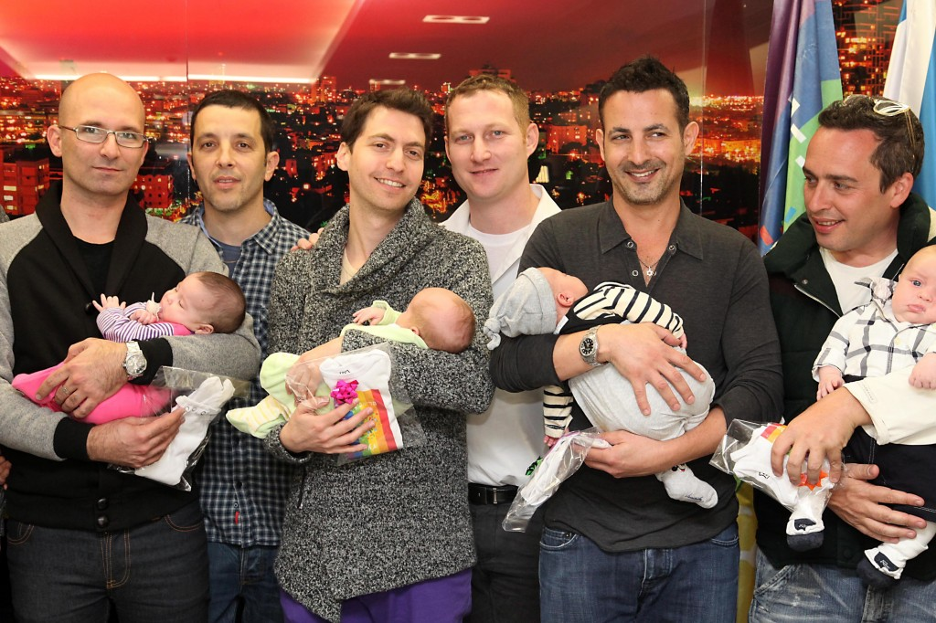 A reception for gay fathers who recently returned from Thailand, where local surrogates gave birth to their babies. Their babies having received Israeli passports after a long struggle. Photo: Gideon Markowicz / Flash90