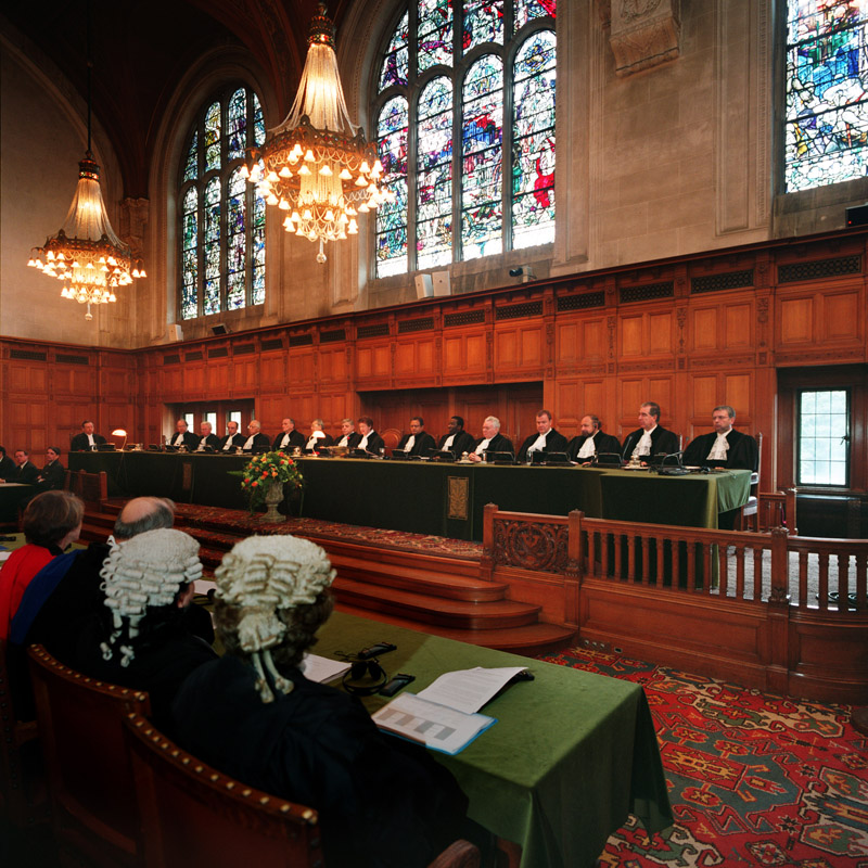 A public hearing at the International Court of Justice. Photo: Yeu Ninje / Wikimedia