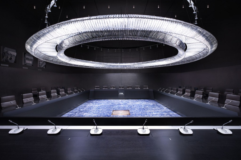 FIFA's executive committee boardroom, which is not at all ominous. Photo: Luca Zanier