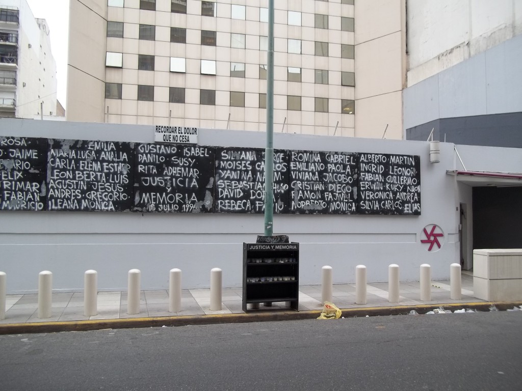 A memorial for victims of the 1994 AMIA bombing sits outside the building. Photo: Nbelohlavek / Wikimedia