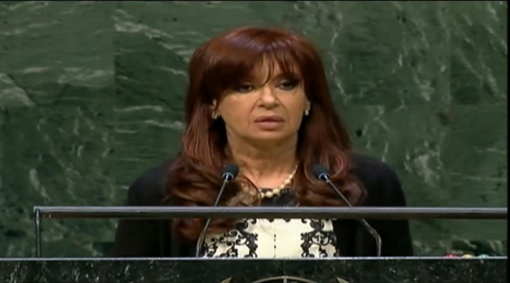 Argentina President Cristina Fernández de Kirchner speaks at the United Nations, September 24, 2014. Photo: Casa Rosada / YouTube