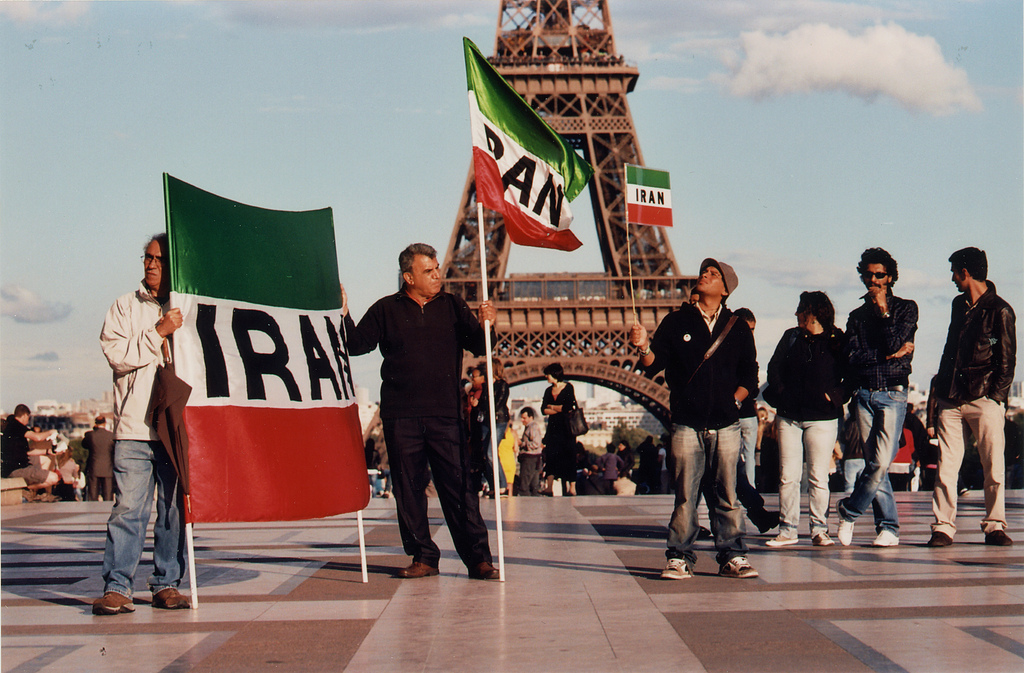 An Iran-related protest in Paris, June 2011. The French government is growing closer to the Islamic Republic as it works to fight ISIS. Photo: Gwenael Piaser / flickr
