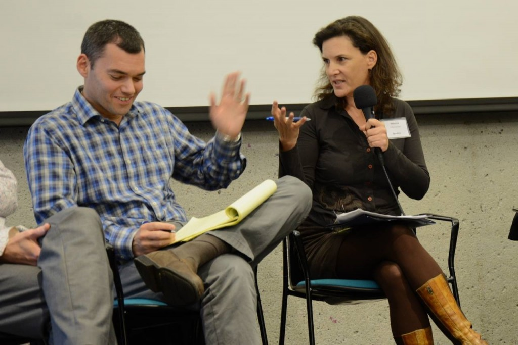 Peter Beinart, columnist for Haaretz, and Rebecca Vilkomerson, executive director of Jewish Voice for Peace, debate at the Open Hillel conference. Photo: Gili Getz
