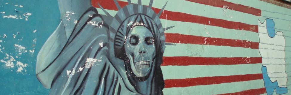 Mural outside the former American embassy, Tehran. Photo: David Holt / flickr