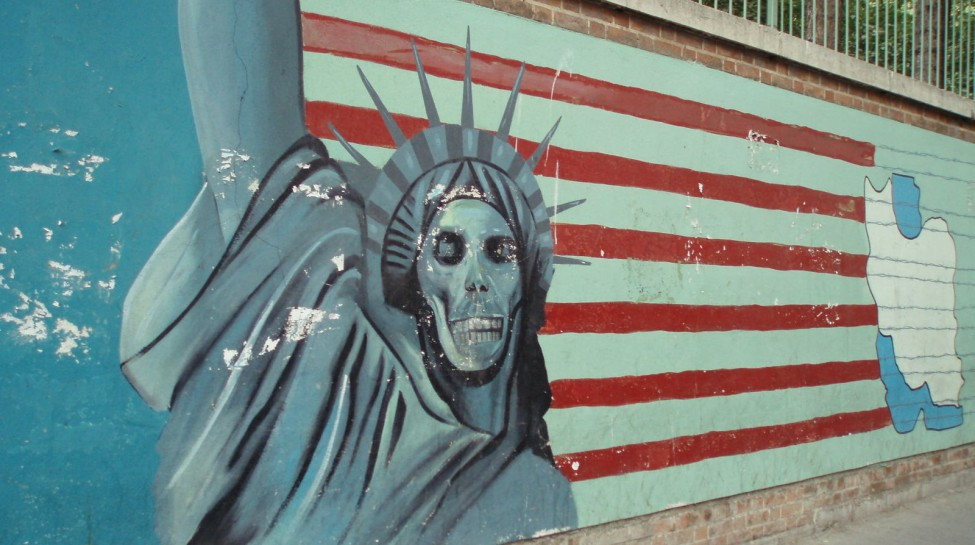 Mural outside the former American embassy, Tehran. Photo: David Holt / flickr