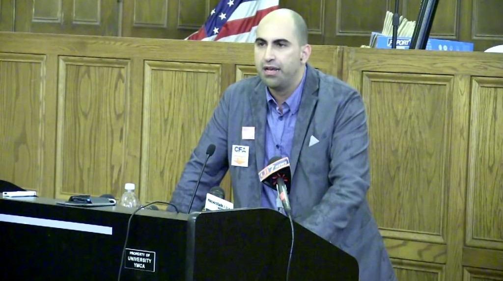Steven Salaita speaks about his firing. Photo: UPTV6 / YouTube