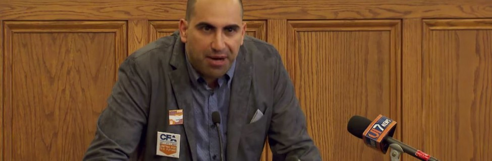 Steven Salaita speaks about his firing. Photo: Illinois Public Media / YouTube