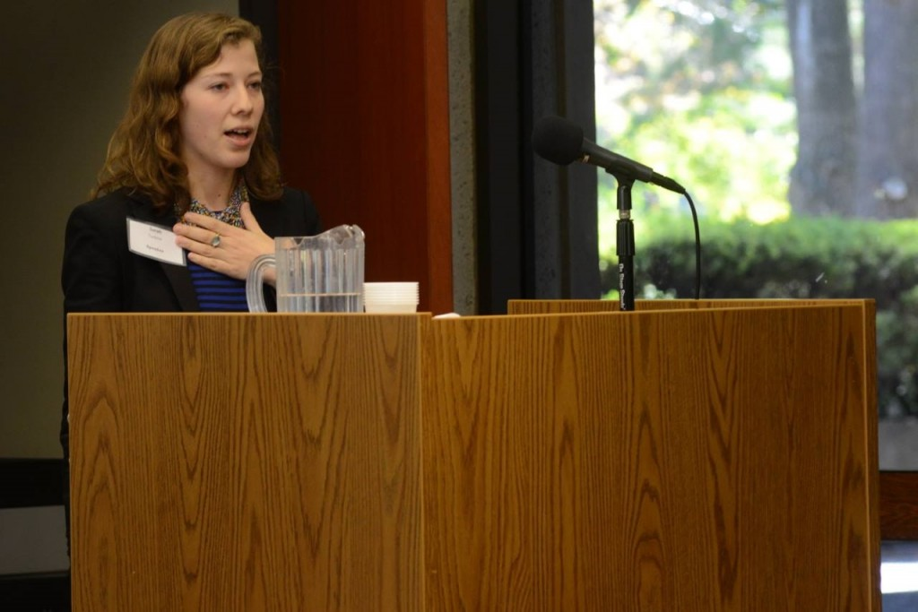 Sarah Turbow, director of J Street U, speaks at the Open Hillel conference. Photo: Gili Getz