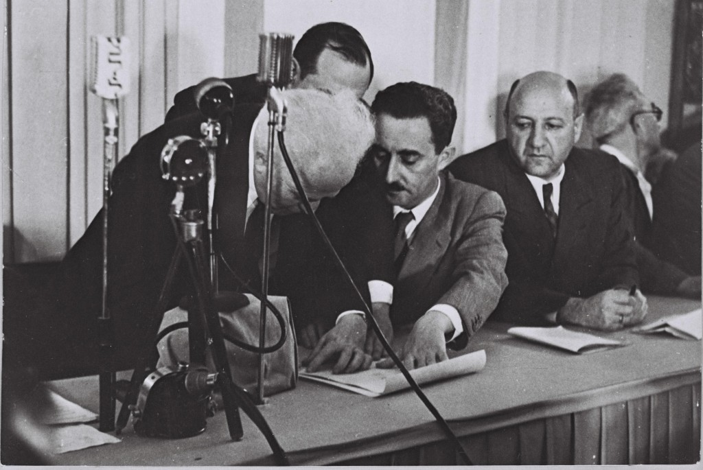 David Ben-Gurion signing the Declaration of Independence, May 14, 1948. Photo: Matanya / Wikimedia
