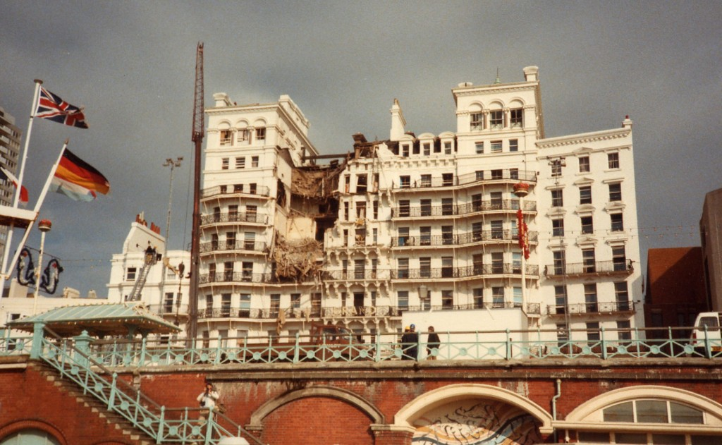 The Grand Hotel in Brighton, England, was bombed in an attempted assassination attempt on Prime Minister Margaret Thatcher in 1984. She was unharmed, but five people were killed. Photo: Magnus Manske / Wikimedia