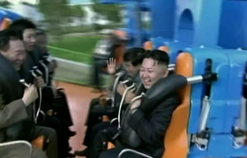 Kim Jong-Un on a roller coaster. Photo: CNN / YouTube