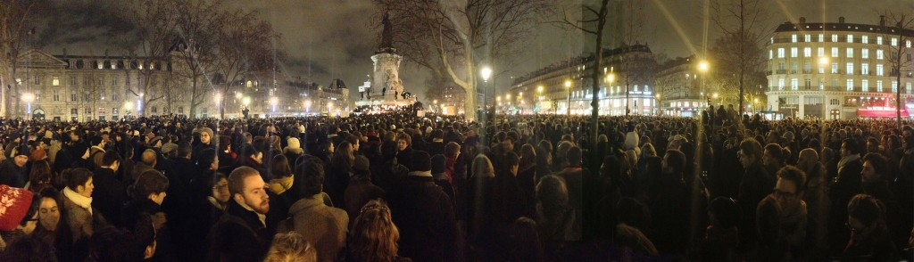French citizens gather in front of the Place de la République on January 7. Photo: JeSuisGodefroyTroude / Wikimedia