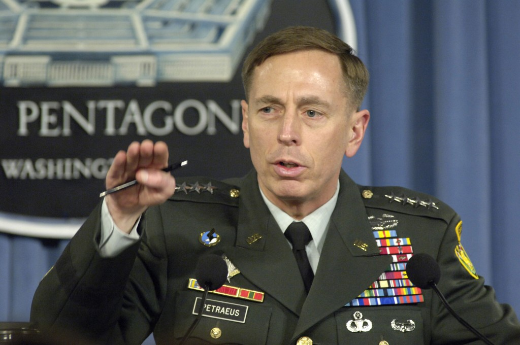 U.S. Army Gen. David H. Petraeus, the commander of Multi-National Force - Iraq, briefs reporters at the Pentagon, April 26, 2007. Photo: Robert D. Ward / Department of Defense / Wikimedia