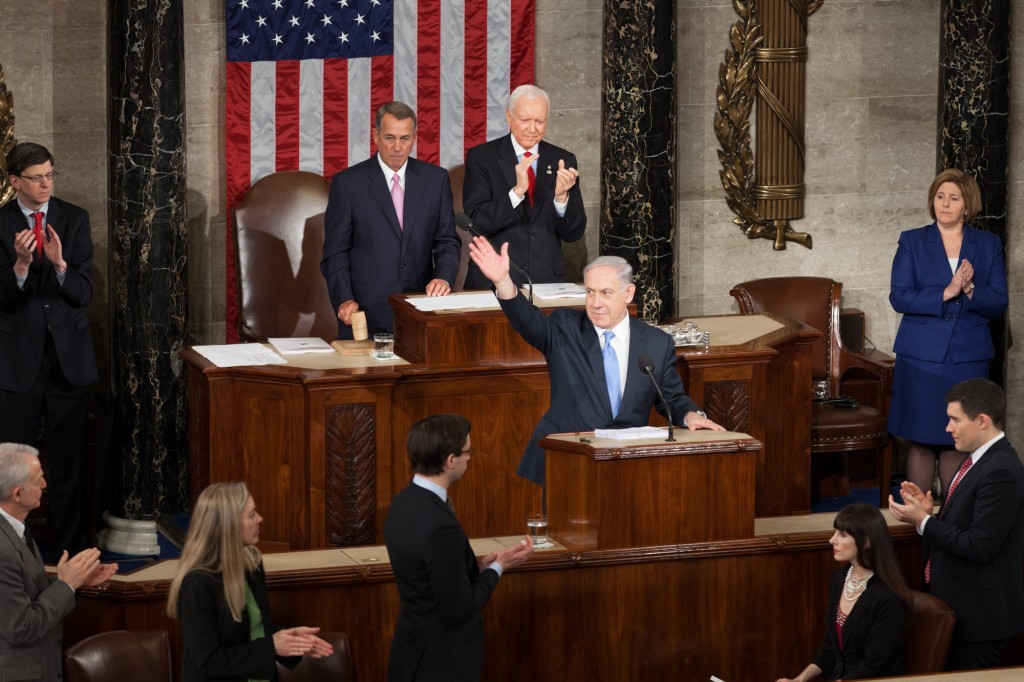 Israeli Prime Minister Benjamin Netanyahu speaks before a joint session of Congress for the third time, March 3, 2015. Photo: Heather Reed / flickr