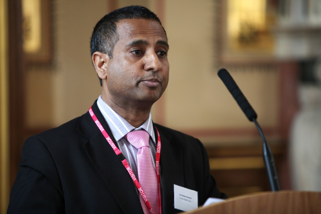 Ahmed Shaheed, the UN Human Rights Council Special Rapporteur on Iran, speaks at the British Foreign and Commonwealth Office, April 15, 2013. Photo: Foreign and Commonwealth Office / Wikimedia
