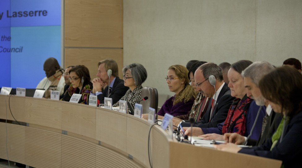 HRC Secretariat and OHCHR Officials at Human Rights Council. Photo: Eric Bridiers